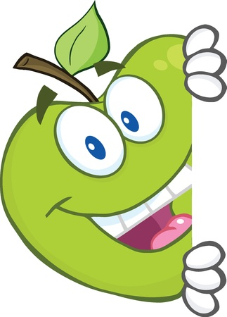 Smiling Green Apple Character Hiding Behind A Sign Vector