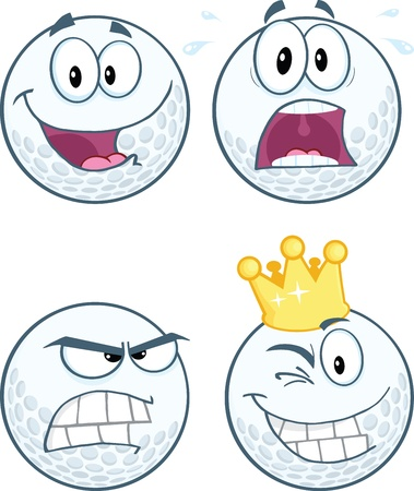 Golf Ball Different Expression Cartoon Character Collection Vector