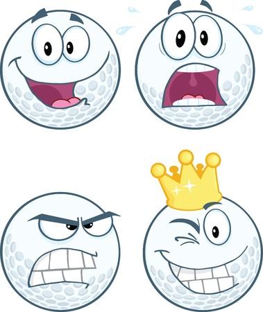 Golfbal Verschillende Expressie stripfiguur Collection Stock Illustratie