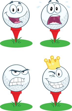 Golf Ball With Tee Different Expression Collection Vector