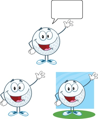 Golf Ball Cartoon Character Waving For Greeting Collection Vector