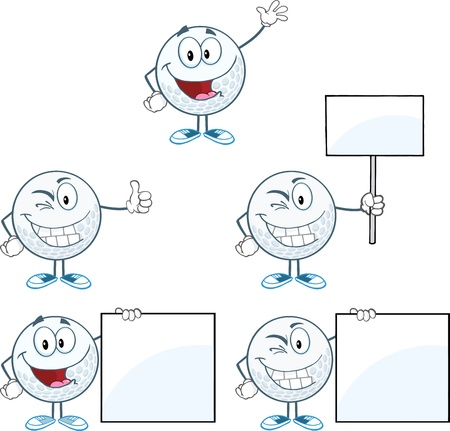 Golf Balls Cartoon Character Different Poses Collection Vector