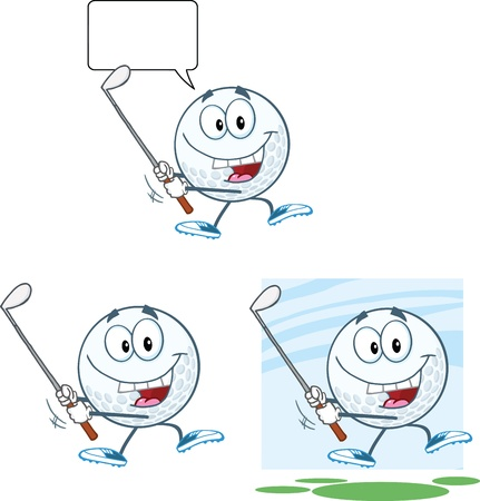 Golf Ball Cartoon Character Swinging A Golf Club Collection Vector