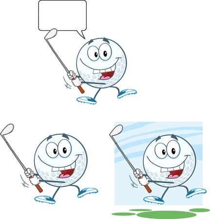 golfclub: Golfbal stripfiguur Swinging Een Golf Club Collection Stock Illustratie