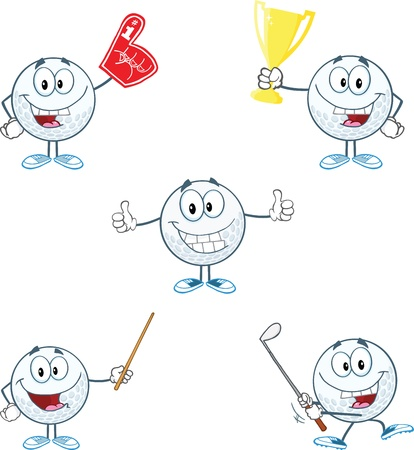 Golf Ball Cartoon Character With Five Different Poses Collection