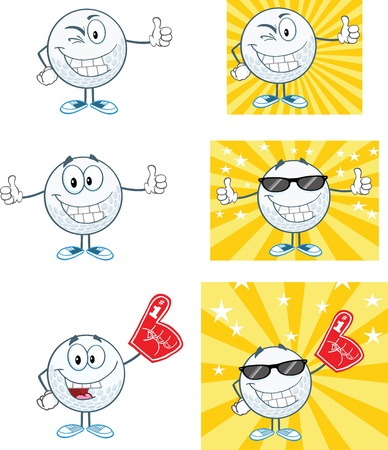 Golf Ball Cartoon Character With Background Different Poses Collection Ilustração