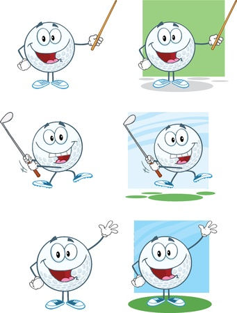 Golf Balls Cartoon Character With Background Different Poses Collection Vector