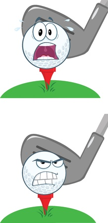 Golf Ball With Tee In Front Golf Club Collection Vector