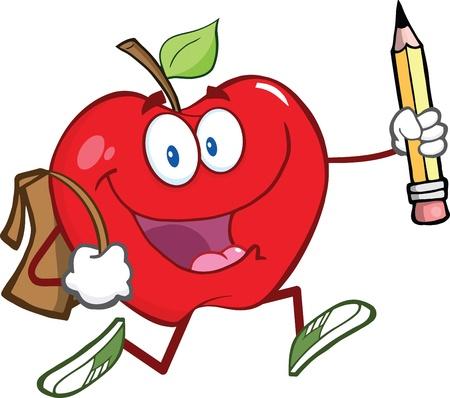 幸せな学校のバッグや鉛筆を持つ赤いリンゴ文字は学校へ行く  イラスト・ベクター素材