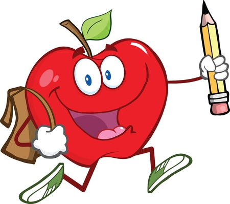 diet cartoon: Happy Red Apple Character With School Bag And Pencil Goes To School