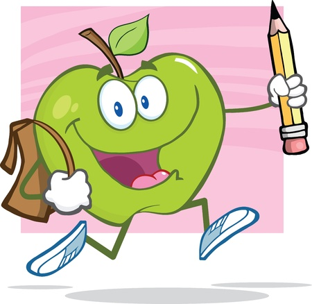 goes: Happy Green Apple With School Bag And Pencil Goes To School