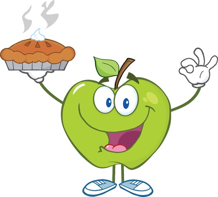 Happy Green Apple Character Holding Up A Pie Illustration