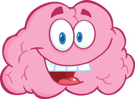 Happy Brain Cartoon Character Vettoriali