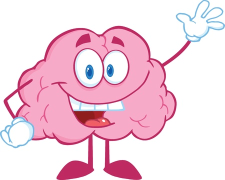 Happy Brain Cartoon Character Waving For Greeting Vector