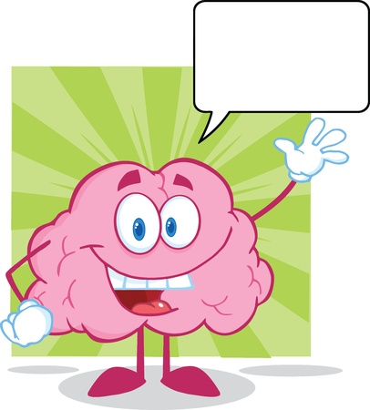 Happy Brain Cartoon Character Waving For Greeting With Speech Bubble Vector
