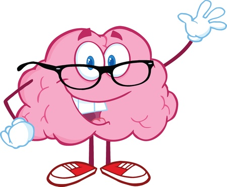 parietal: Smiling Brain Teacher Cartoon Character Waving For Greeting