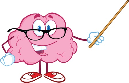 Smiling Brain Teacher Cartoon Character Holding A Pointer