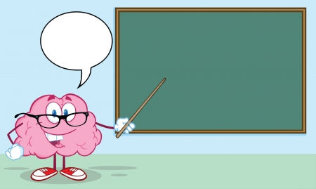 Smiling Brain Teacher With A Pointer In Front Of Chalkboard Vector