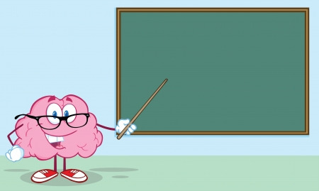Happy Brain Teacher Character With A Pointer In Front Of Chalkboard
