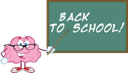Smiling Brain Teacher Character With A Pointer In Front Of Chalkboard With Text Stock fotó - 21020798