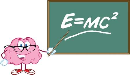 einstein: Smiling Brain Teacher Character With A Pointer In Front Of Chalkboard With Einstein Formula