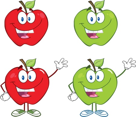 dieting: Happy Red And Green Apples Waving For Greeting  Collection