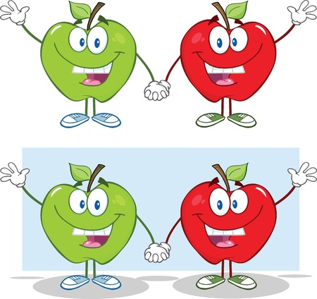 Smiling Red And Green Apples Waving For Greeting  Collection Illustration