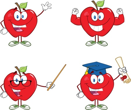 Red Apples Cartoon Mascot Characters 5  Collection Vector