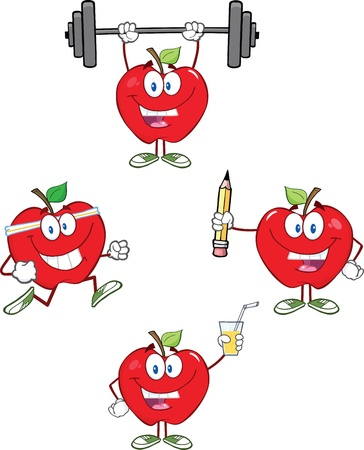 Red Apples Cartoon Mascot Characters 3 Collection Vector