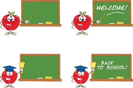 Smiling Apple Characters In Front Of Chalkboard  Collection Çizim