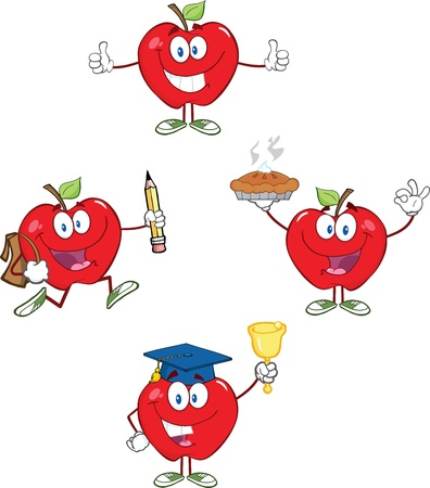 Red Apples Cartoon Mascot Characters 2 Collection Vector