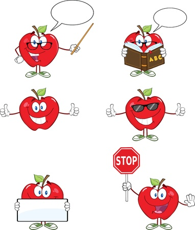 Red Apples Cartoon Mascot Characters 1 Collection Vector