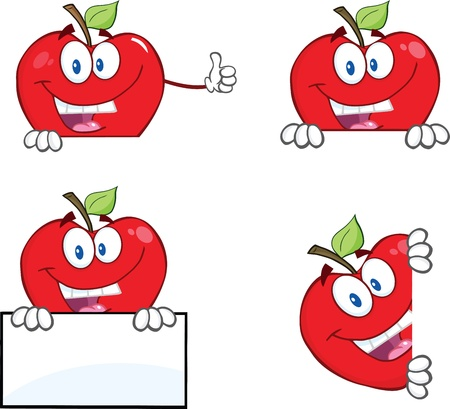 Happy Red Apples Characters With Blank Sign  Collection Vector