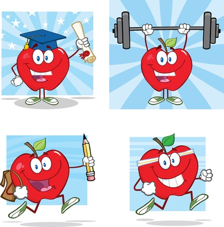 eat healthy: Happy Red Apples Characters  Collection