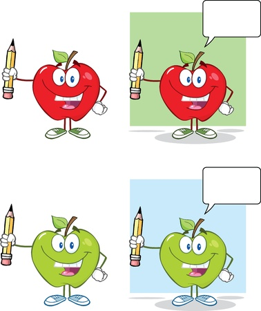 Happy Apples Characters Holding Up A Pencil  Collection Illustration