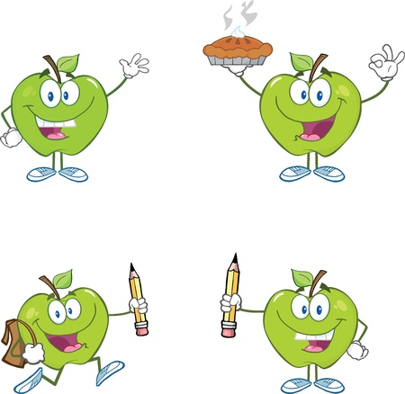 Green Apples Cartoon Mascot Characters Collection Vector