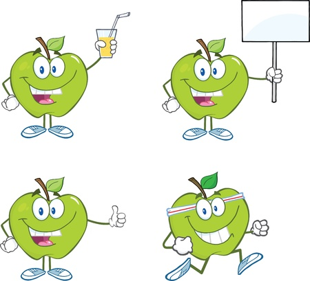 Green Apples Cartoon Characters Collection Çizim