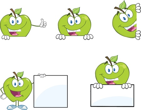 Green Apples With Blank Sign  Collection Illustration