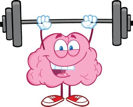 Gelukkige Hersenen Karakter Tillen Gewichten Stock Illustratie