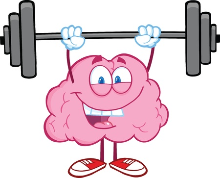 Happy Brain Character Lifting Weights