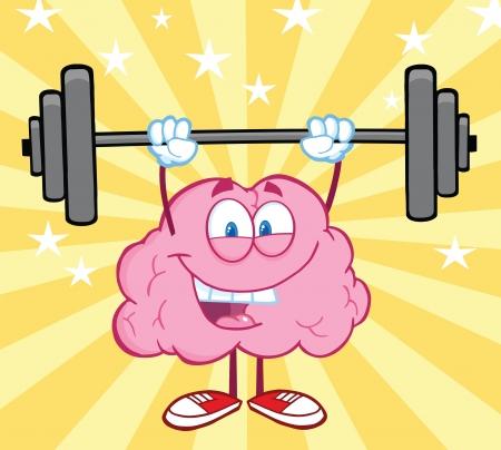 lifting weights: Feliz cerebro dibujos animados levantamiento de pesas Vectores
