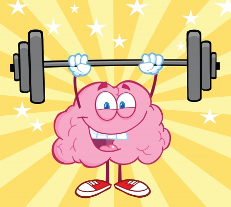 health and fitness: Happy Brain Cartoon Character Lifting Weights Illustration