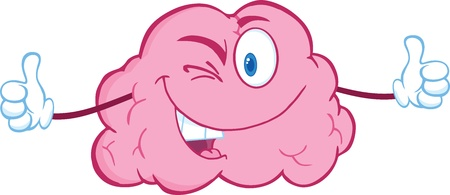 Winking Brain Character Giving A Thumb Up Ilustração