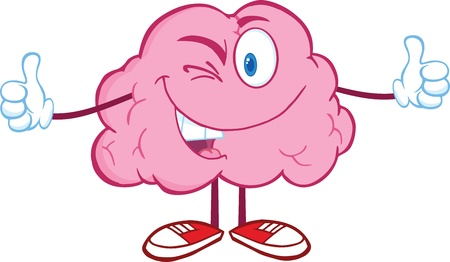 Winking Brain Cartoon Character Giving A Thumb Up Vector