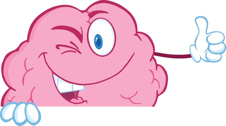 Winking Brain Cartoon Character Holding A Thumb Up Over Sign Stock Vector - 21020832