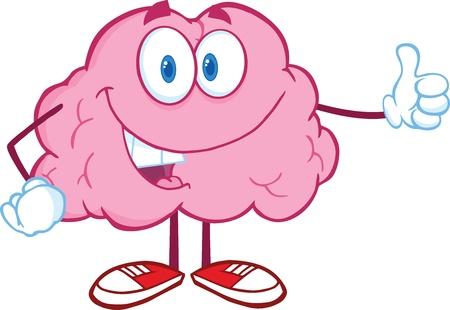 parietal: Happy Brain Character Giving A Thumb Up