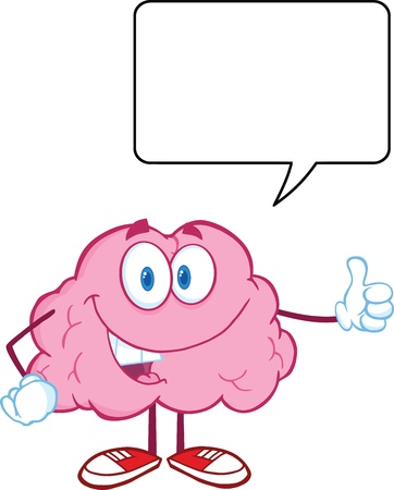 intellect: Happy Brain Character Giving A Thumb Up Witch Speech Bubble Illustration