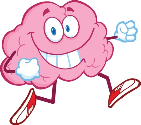 characters: Healthy Brain Cartoon Character Jogging Illustration