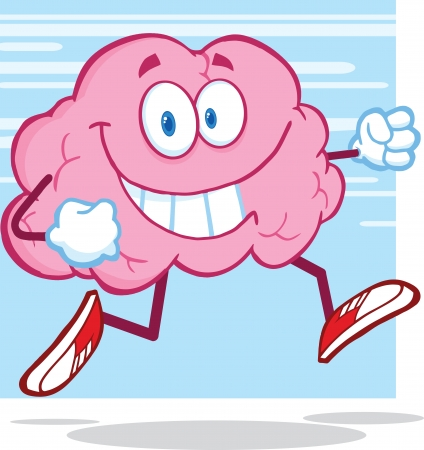 brain illustration: Healthy Brain Character Jogging