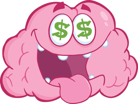 Money Loving Brain Cartoon Character Vector